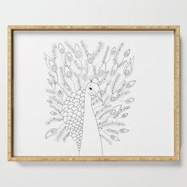 Peacock | Hand drawn zentangle illustration art |  Serving Tray