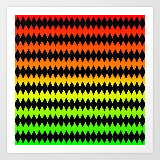 Zig Zag - Orange-Yellow-Green Art Print