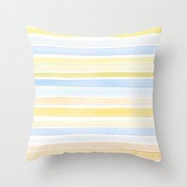 Watercolour stripes 01 Pale sea Throw Pillow