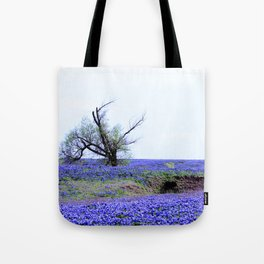 Lonely Tree & Bluebonnets Tote Bag