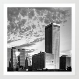 Downtown Tulsa Skyline Squared in Black and White Art Print