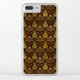 Hamsa Hand pattern -gold on brown glass Clear iPhone Case