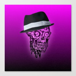 Elegant Skull with hat,hot pink Canvas Print