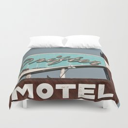 Vintage Neon Sign - The Drifter - Silver City Duvet Cover