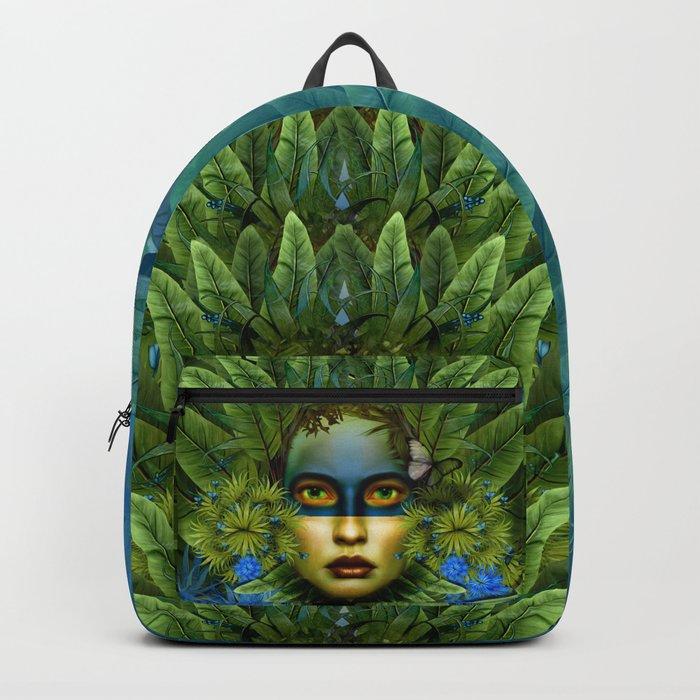 """Tropical green and indigo jungle Woman"" Backpack"