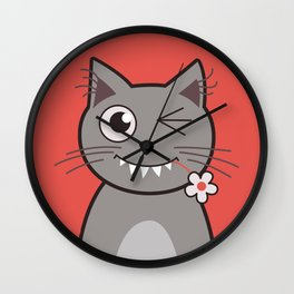 Winking Cartoon Kitty Cat Wall Clock