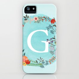 Personalized Monogram Initial Letter G Blue Watercolor Flower Wreath Artwork iPhone Case