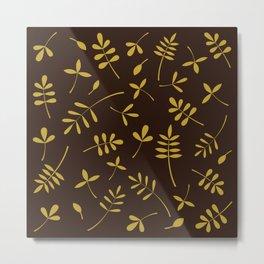 Gold Leaves Design on Brown Metal Print