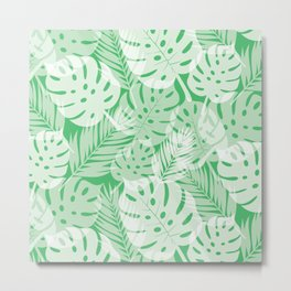 Tropical Shadows - Vibrant Green / White Metal Print