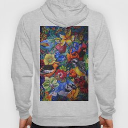 Feathered Foliage Bird Colored Pencil Drawing Hoody