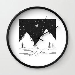 """Fly Away"" - Paper Plane Landscape Wall Clock"