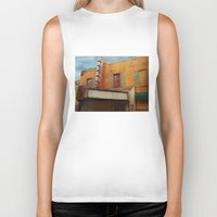 theater Biker Tanks featuring The Crumbling Martin Theater by Little Bunny Sunshine