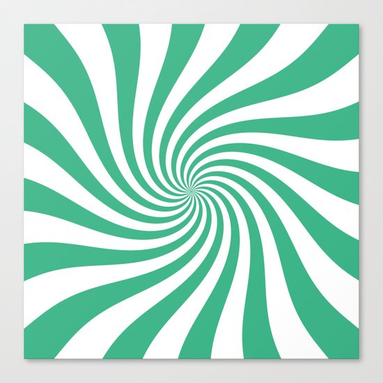 Swirl (Mint/White) Canvas Print