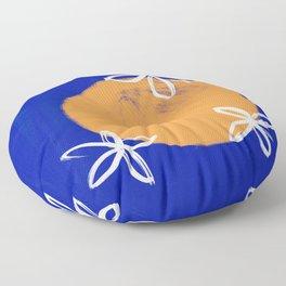Orange in Sicilian Blue Floor Pillow