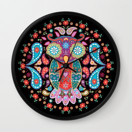 Owl Blooms with Love Wall Clock