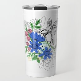 Bat and Flowers Travel Mug