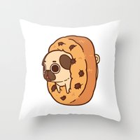 cookie Throw Pillows featuring Puglie Cookie by Puglie Pug