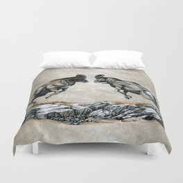 Fighting Bighorn Sheep Rams Duvet Cover