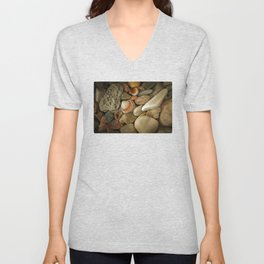 Sea Pebbles With Shells Unisex V-Neck
