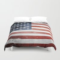 american flag Duvet Covers featuring American flag by Nicklas Gustafsson