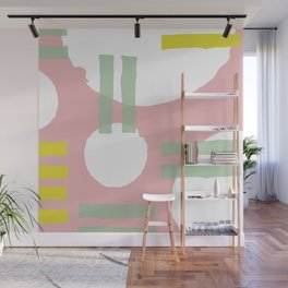 Mid-Century Modern in Pink, Mint and Mustard Pattern Wall Mural