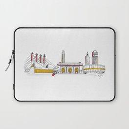Kansas City Skyline Illustration in KC Football Colors Laptop Sleeve