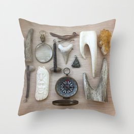A Compass and Antlers and Artifacts, OH MY! Throw Pillow