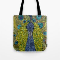 urban Tote Bags featuring Mr. Pavo Real by Valentina Harper