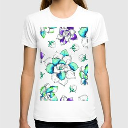 Turquoise flowers xx T-shirt