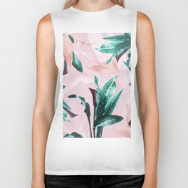 Tropical Floral on Pink. Odessa Calla Lily Biker Tank
