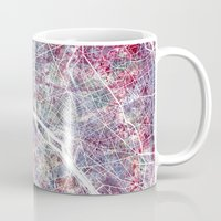 paris map Mugs featuring Paris Map by MapMapMaps.Watercolors