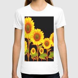 BLACK MODERN YELLOW SUNFLOWER FIELD T-shirt