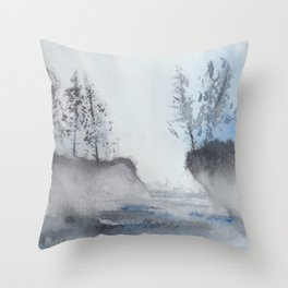 Blue Pines and Water Throw Pillow