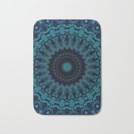 Mandala in light and dark blue tones Bath Mat
