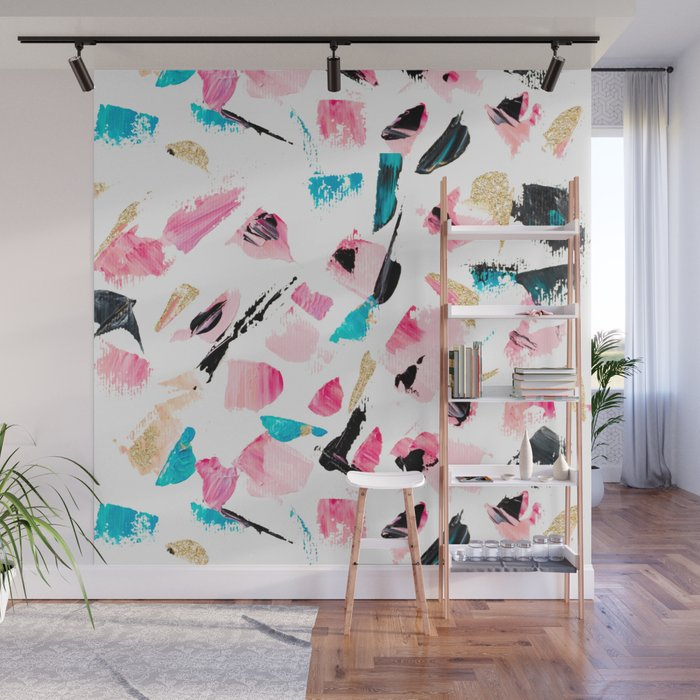 Abstract Bright Pink Turquoise Black Gold Glitter Brushstrokes Acrylic Paint Wall Mural By Ytrend Society6