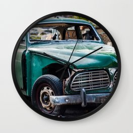 Smashed vintage car Wall Clock
