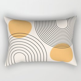 Mid Century Modern Geometric 70 (Rainbow and Sun Abstraction) Rectangular Pillow