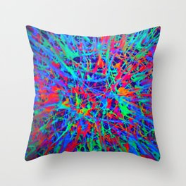 splatter in blacklight Throw Pillow
