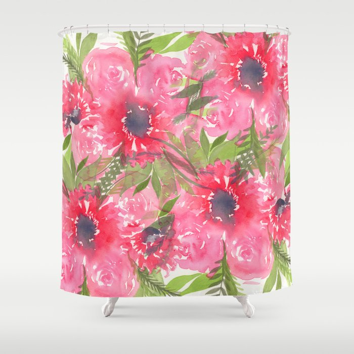 Red Flowers Shower Curtain By Alisaburke