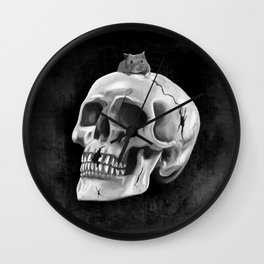Cracked skull with mouse BW Wall Clock