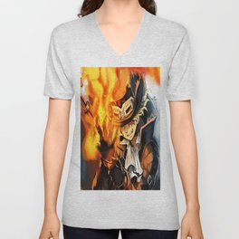 the power of fire on sabo Unisex V-Neck