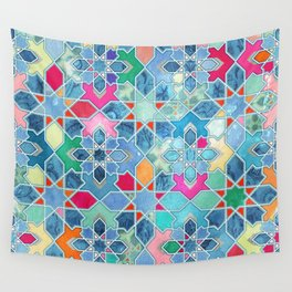 Pretty Pastel Moroccan Tile Mosaic Pattern Wall Tapestry