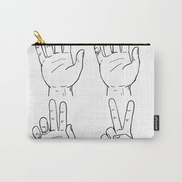 Victory or Peace Hand Sign Drawing Carry-All Pouch