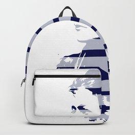 Blue Woman Vintage Illustration Minimal with stripes Backpack