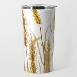 golden wheat field watercolor Travel Mug
