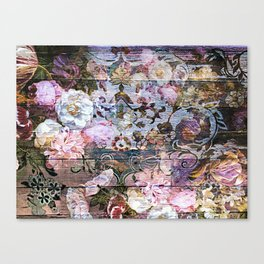 Shabby Chic floral rococo woodpanel Canvas Print