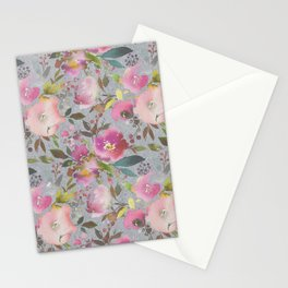 Pretty Pink Blossom Textured Dark Gray Background Stationery Cards