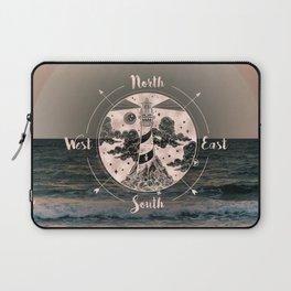 Lighthouse Compass Ocean Sunset Rose Gold Laptop Sleeve