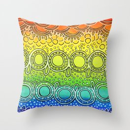 Rainbow Doodle Throw Pillow