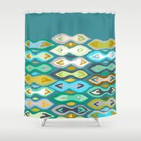 ikat Shower Curtains featuring Sagar ikat by Sharon Turner